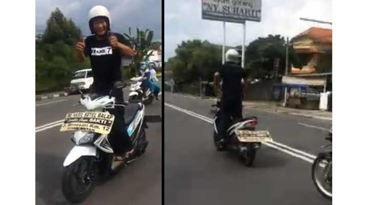 Pria Ini Nekat Berkendara Sambil Berdiri di Jalanan Jogja
