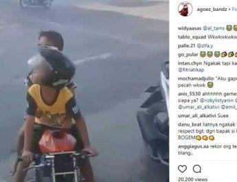 Anak TK Mengendarai Pocket Bike di Jalan Raya